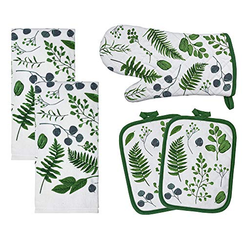 Franco Kitchen Designers Soft and Absorbent Cotton Towels with Pot Holders and Oven Mitt Linen Set, 15