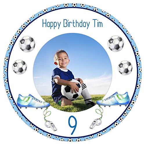 Tortenaufleger Tortenbild Geburtstag Jungen blau Kindergeburtstag Sport Fußball mit eigenem Foto und Wunschtext sofort frei gestalten essbar 20 cm Ø TA2050