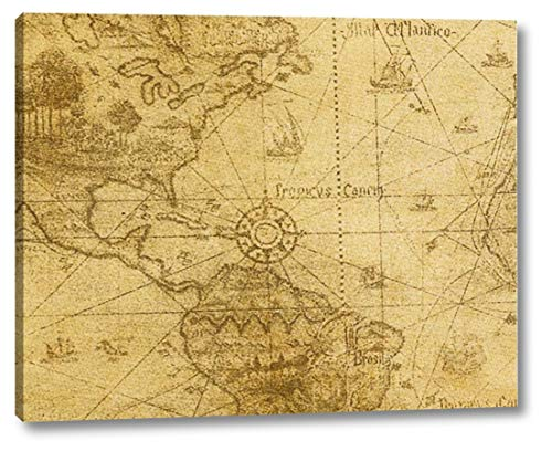 Vintage Map Carribean Sea by Taylor Greene - 13' x 16' Canvas Art Print Gallery Wrapped - Ready to Hang