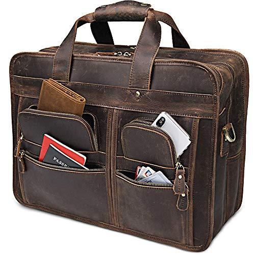 Heren aktetas Schoudertas, heren Messenger Tassen 17 Inches Vintage Laptop Tas Meerdere Pocket, voor Weekend Travel Office Vergaderingen