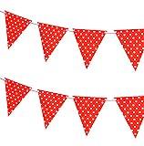 Outflower. Color Sólido Bunting Banderín Bandera Colgante Bandera de Papel Banner Círculo Blanco Banderines Decorativos para Familia/Jardín/Cumpleaños/Celebracion/Fiesta Size 300cm (Rojo)