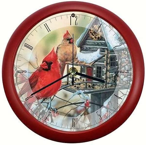 Mark Feldstein Rustic Cardinals 8 Inch Sound Clock