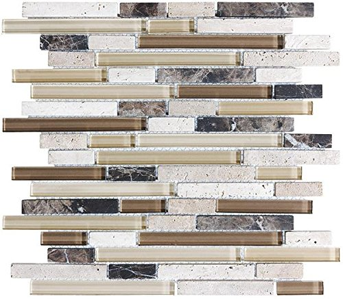 10 Sq Ft - Bliss Cappucino Stone and Glass Linear Mosaic Tiles- bathroom walls/ kitchen backsplash