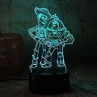 LSDAMN 3D Night Light Cute Toy Story Buzz Lightyear Woody 3D LED Night Light 7 Color Baby Sleep Desk...