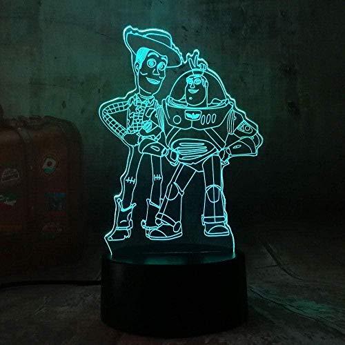 LSDAMN Luz de noche 3D Cute Toy Story Buzz Lightyear Woody Luz de noche LED 3D 7 colores Lámpara de escritorio para dormir para bebés Niño Niños Regalo de Navidad Decoración de dormitorio Sin marca