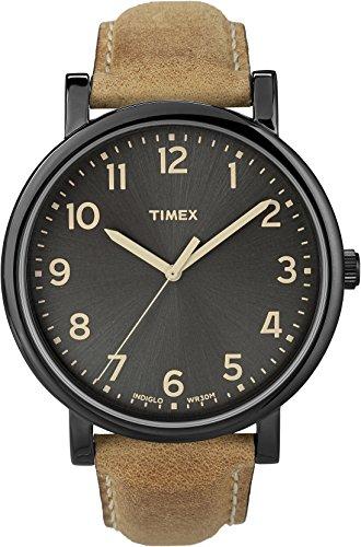 Timex Originals - Reloj análogico de cuarzo con correa de cuero unisex, color marrón/negro