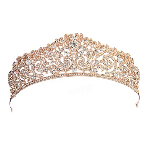 Bazaar Rose Goud Kristal Bruiloft Kroon Strass Party Pageant Tiara Haarband