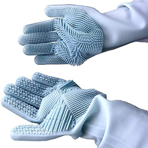 Geschirrhandschuhe, Reinigen Silikon-Spülhandschuhe, Silikon Handschuhe, Magische Handschuhe, Gummi-Handschuh für die Haushalt, Hitzebeständige Handschuhe für Küche, Bad, Auto (grau, 1 Paar, groß)