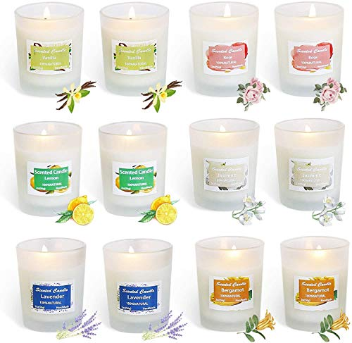 YIHANG Scented Candles, Soy Wax Aromatherapy Glass Candle Gift Set, Lemon, Lavender,...