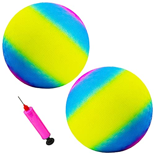 2pcs Pelota de Playa Inflable, BKJJ Pelota Blanda para Niños, Bolas de arcoíris de 8.5 Pulgadas, Inflación de Deportes de Playa Pelota de Juego Kickball Pelota de Playa Pelota de Colores