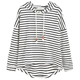 VJGOAL Mujer otoño Plus Size Moda Raya con Bolsillos Casual Sweatshirt Manga Larga Crop Jumper Pullover Tops (Blanco, M)