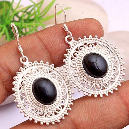 Black-Onyx Gemstone Sterling Silver Boho Drop Earrings for Women and Girls, Bezel Set Ear-Wire Earrings, Black Bridesmaid Earrings