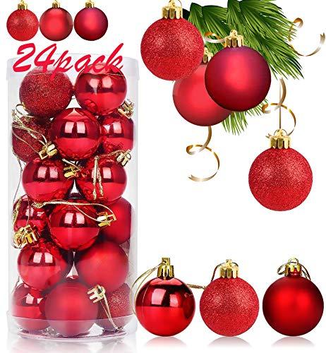 Xinmeng 24pcs Bolas Arbol Navidad 4cm Bolas navideñas bolas de árbol de navidad adorno Decoración de Bolas Navideños Adornos Arbol Navidad Regalos de Colgantes de Navidad (rojo).