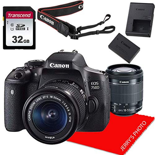 Canon EOS 750D / Rebel T6i DSLR Camera w/Canon EF-S 18-55mm F/3.5-5.6 is STM Zoom Lens + 32GB Memory Bundle (8pcs)