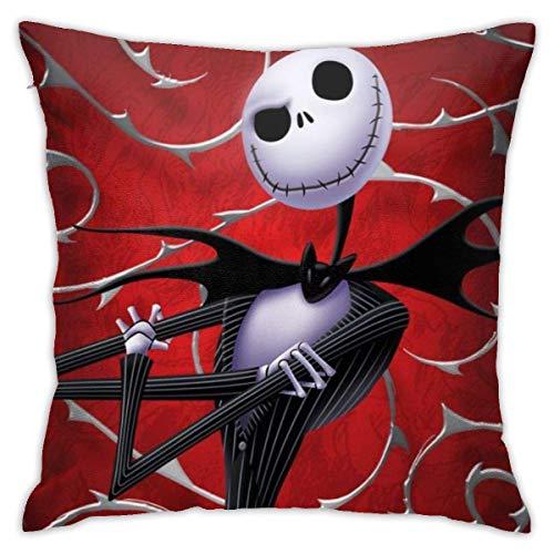 wenhe Ja Skellington Fundas de almohada decorativas de algodón para salón, sofá, cama, fundas de almohada suaves, 45,7 x 45,7 cm