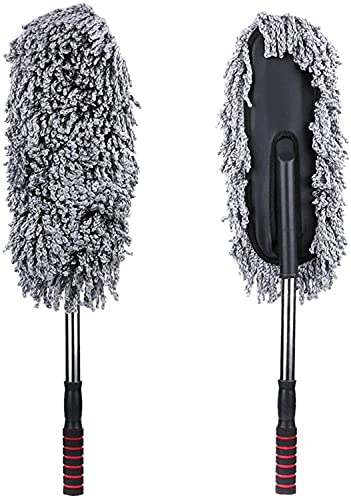 COLiJOL Car Dust Duster Sponges Towels with Handles Multi-Functional Microfiber Car Dust Cleaning Brushes Duster Mop Auto Duster Washing Tools,Gray,40X10X5Cm