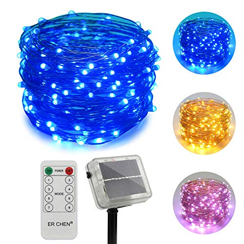 ErChen Dual-Color Solar Powered LED String Lights, 66FT 200 Leds Remote Control Color Changing 8 modes Copper Wire Decorative Fairy Lights for Outdoor Garden Patio (Warm White, Blue)