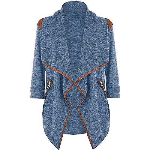 SHOBDW Plus Größe Damen Herbst Winter Exquisit Ordentlich Reif Solid Lässig Blazer Frauen Taschen Strickjacke Langarm Jacke Outwear Mantel Dünn Jahrgang Stil Sweatshirt Windjacke