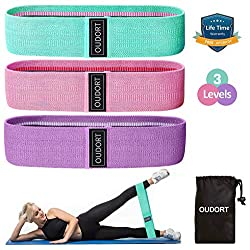 Oudort Resistance Hip Bands, premium fitness bands set with 3 tensile strengths, non-slip resistance bands training band for muscle building, leg training, hip training and strength training
