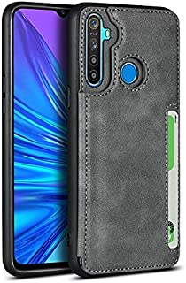 LINSMAO Cover Wallet Case for Oppo Realme 5, Horizontal Kickstand PU Leather Wallet Case with Credit Card Slots Holder, Ma...