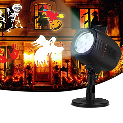 OUSFOT Halloween Christmas Projector Lights LED 2-in-1 Installation Projector with 16 Switchable Patterns, IP65 Waterproof Projector for Outdoor Indoor Christmas Party Garden Home Patio Decorations