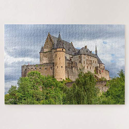Scott397House Jigsaw Puzzles 1000 Pieces For Adults Large Piece Puzzle Vianden Castle Wooden Jigsaw Puzzle Intellectual Puzzles Fun Challenging Family Activity Game Toys Gift Wall Decoration
