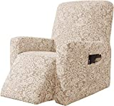 subrtex - Fodera per poltrona relax, estensibile, in tessuto jacquard damascato, 1 posto, protezione decorativa (beige marrone)