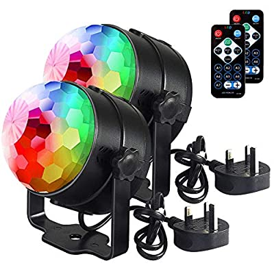 Disco Lights Disco Ball U'king, Remote Control DJ Lights 3W 7 Colours Strobe Light Sound Activated Party Lights For Xmas Party Pub Wedding Club Show