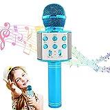 Micrófono Karaoke Bluetooth inalámbrico, micrófono KTV para niños, máquina de karaoke P, micrófono inalámbrico, grabación de karaoke, compatible con Android y iOS teléfono móvil o TV – WS858 azul