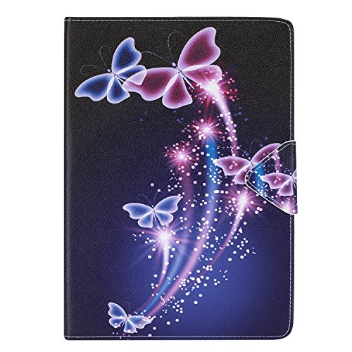 Funluna Samsung Galaxy Tab A 9.7 Hülle(SM-T550/T555), Stoßfest PU Ledertasche mit Ständerfunktion und Auto Schlaf/Wachen Dokumentschlitze Rückseite Silikon TPU Folio Schutzhülle, Lila Schmetterlinge