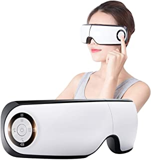 Electric Eye Massager with Heat Music Air Compress Vibration Rechargeable Temple Massager Eye Therapy Machine for Dry Eyes Eye Relaxation Dark Circles Improve Sleeping (White)