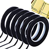 GoProver 6 Pack 3mm 1/8 inch Lightning Width Graphic Tape Whiteboard Tape Self Adhesive Chart Line Tape Grid Marking Tapes Gridding Tape Art Artist Tape, 108 Feet Feet Long per Roll