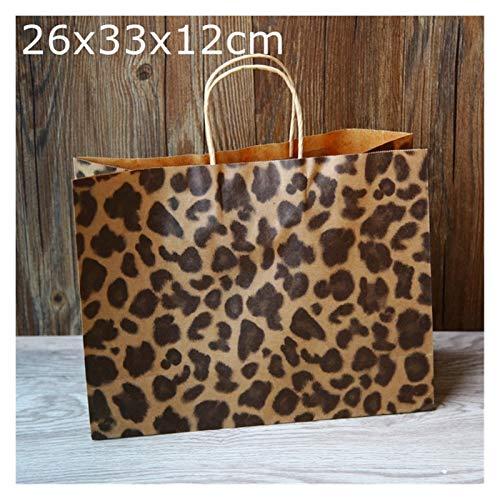 CML 10pcs Zebra und Leopard drucken Papierbeutel, Schmuck Geschenk Lebensmittel-Einkaufstasche, modernen Geschenk-Papierbeutel (Color : 26x33x12cm Leopard)