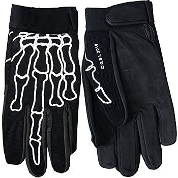 Black, Small Hot Leathers Skeleton Mechanic Gloves