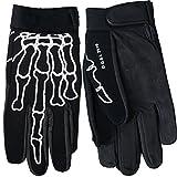 Hot Leathers Skeleton Finger Mechanic Gloves (Black, Large)