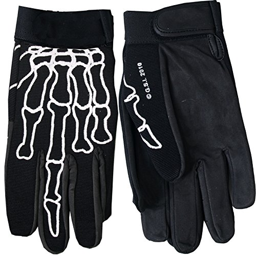 Hot Leathers Skeleton Finger Mechanic Gloves (Black, Large)
