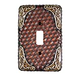 Urbalabs Western Leather Weave Design Silver Buckle Decorative Light Switch Outlet Wall Plate Covers Country Home Rustic Light Switch Covers Single Double 2 Gang Switch Plates (Single Switch)