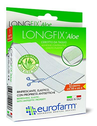 Eurofarm Long Fix Aloe (mt 1 x cm 6) -Cerotto ipoallergenico in Striscia con compressa Centrale in Aloe Vera
