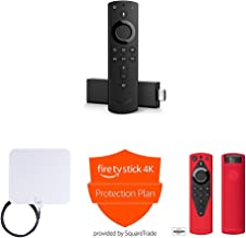 Fire TV Stick 4K + AmazonBasics HD Antenna + Protection Plan + Mission Cable Remote Cover (Red)