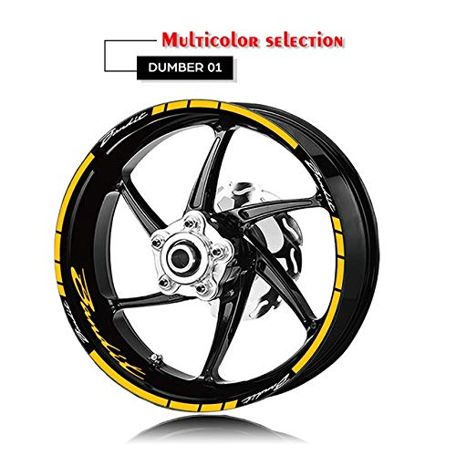 Etiqueta Motocicleta reflexiva de la Rueda y la llanta del neumático Logo Stickers Adhesivos Protección de decoración for Suzuki Bandit 1200 600 Mei Racing (Color : XT LQ Bandit YLW)