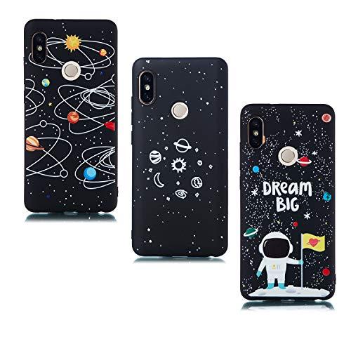 ChoosEU Compatible con 3X Fundas Xiaomi Redmi Note 5 / Note 5 Pro Silicona Negro Dibujos Creativa Carcasas para Chicas Mujer Hombres Case Antigolpes Bumper Cover Caso Protección - Espacio, Astronauta