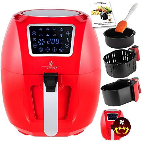 KESSER® XXL 5,5 Liter Heißluftfritteuse Fritteuse | inkl. Brotbackkorb | 1700W Rot