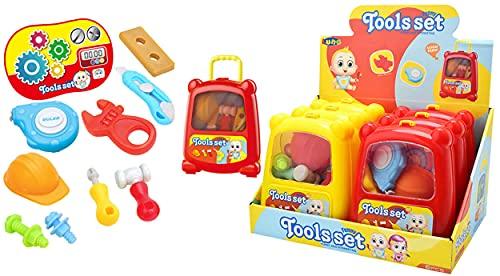 Diakakis Luna Kinder Werkzeug-Trolley 11-TLG. Heimwerker Handwerker Spielset Werkzeugset