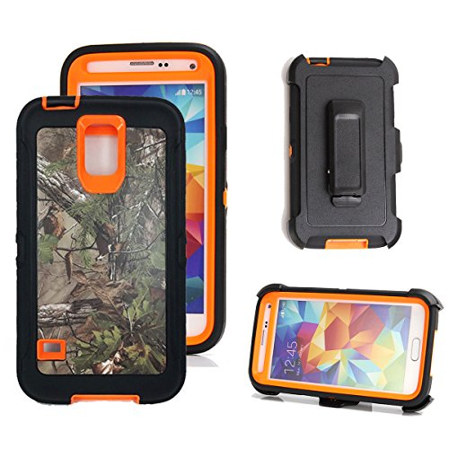 Galaxy S5 Holster Case, Harsel Defender Series Heavy Duty Tree Camo High Impact Shockproof Hybrid Protective Military w