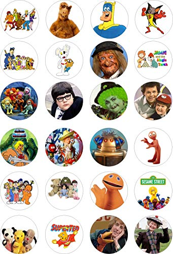 80s KIDS TV Themed Fairy Cake Toppers. Pack of 24 featuring British TV favourites inc. Grange Hill, Bananaman, Rod Hull & Emu, Zippy from Rainbow etc.