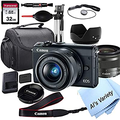 Canon EOS M100 Mirrorless Digital Camera with 15-45mm Lens + 32GB Card, Tripod, Case, and More (ALS Variety Bundle) by Al's Variety-Canon intl