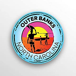 JMM Industries Outer Banks North Carolina Beach Vinyl Decal Sticker Car Window Bumper 2-Pack 3-Inch Round Premium Quality UV Protective Laminate PDS1506
