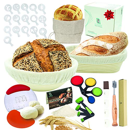 Bread Proofing Basket Set - 39-piece Bread Making Kit includes Round & Oval Banneton Sourdough Proofing Basket, the Most Comprehensive Bread Making Tools, Great Gift for Bakers.