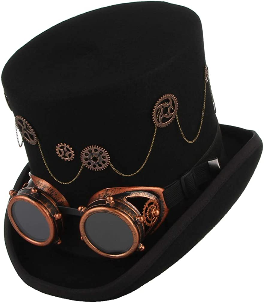 Jelord Mens New Orleans Mall Wool Steampunk Top Victo Ranking TOP7 Quality Hat Burning Theater