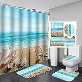Bullpiano Seastar Duschvorhang Set Muscheln Seestern Strand Bad Duschvorhang mit rutschfesten Teppichen Toilettendeckel & Badematte, Stoff Wasserdichtes Badezimmerzubehör Set mit Vorhanghaken